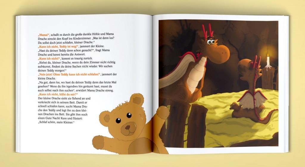 Ohne Teddy kann der kleine Drache nicht einschlafen, © Vivien Stennulat